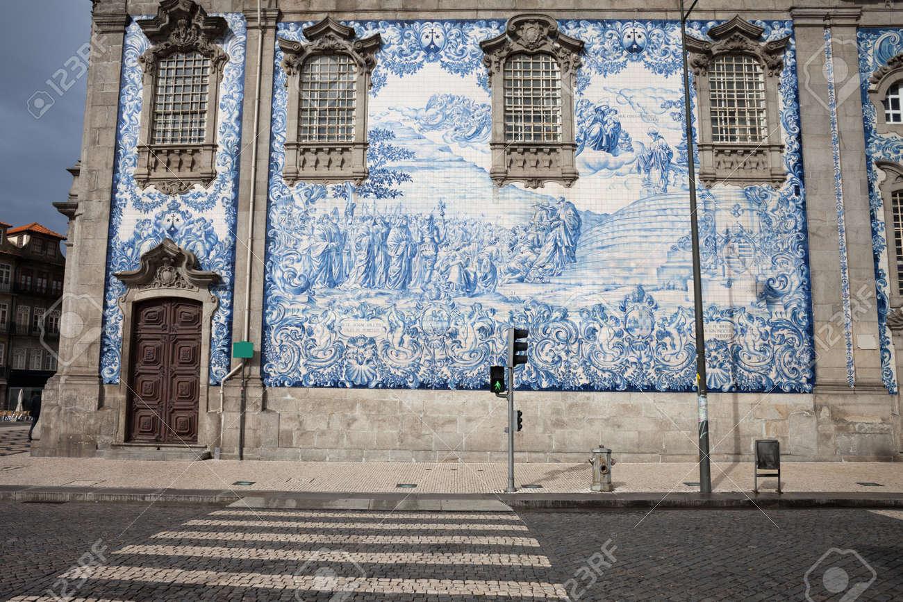 Portugal, City Of Porto (Oporto), Tiled Wall Of 18th Century.. Stock ...