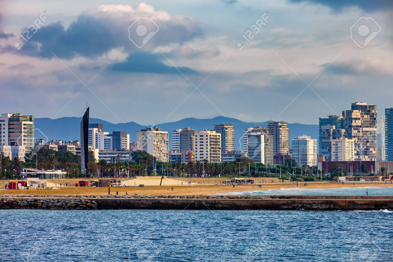 city of barcelona skyline from the sea in catalonia spain stock photo picture and royalty free image image 121494315 123rf com