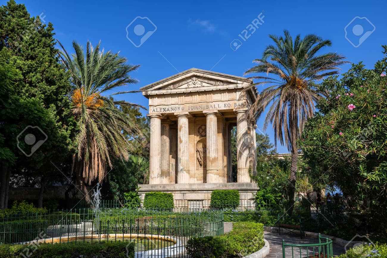 Lower Barrakka Gardens in Valletta, Malta, city garden with fountain and Monument to Sir Alexander Ball from 1810. - 133163145