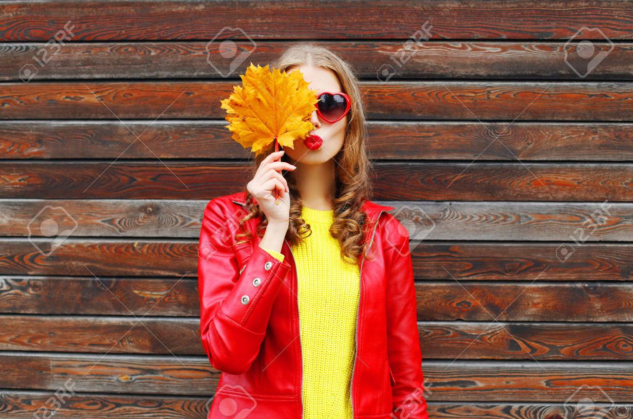 Portrait Pretty Young Woman With Autumn Yellow Maple Leafs Wearing Stock Photo Picture And Royalty Free Image Image 64402765