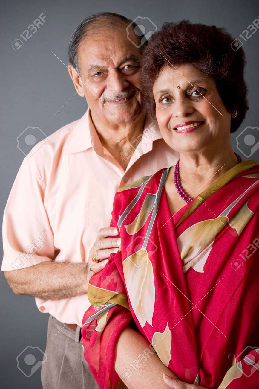 Portrait of a happy elderly East Indian couple Stock Photo - 3519735