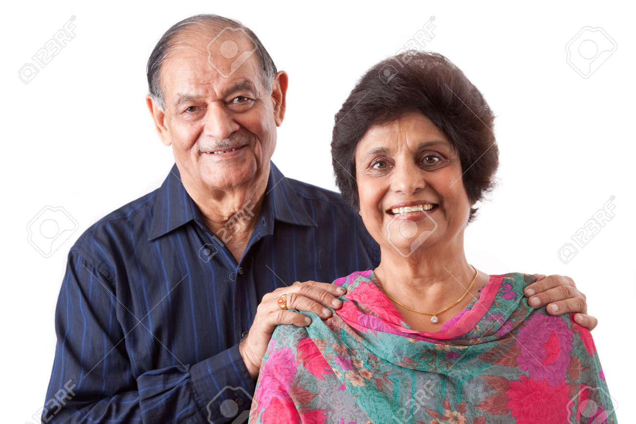 Portrait of a happy elderly East Indian couple Stock Photo - 12640809