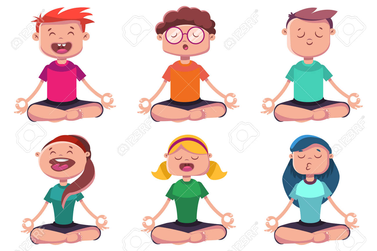 meditation of young people engaged in yoga vector cartoon character rh 123rf com yoga vector images yoga vector free download