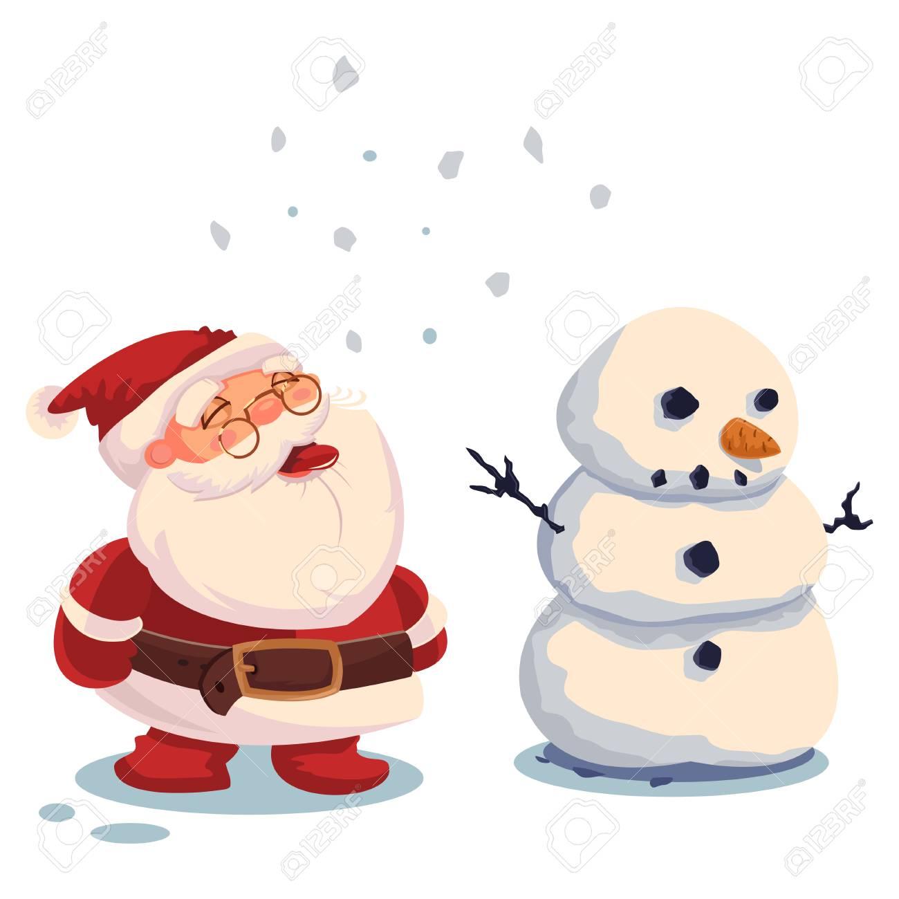 Papá Noel Y Muñeco De Nieve. Vector De Dibujos Animados De Navidad ...