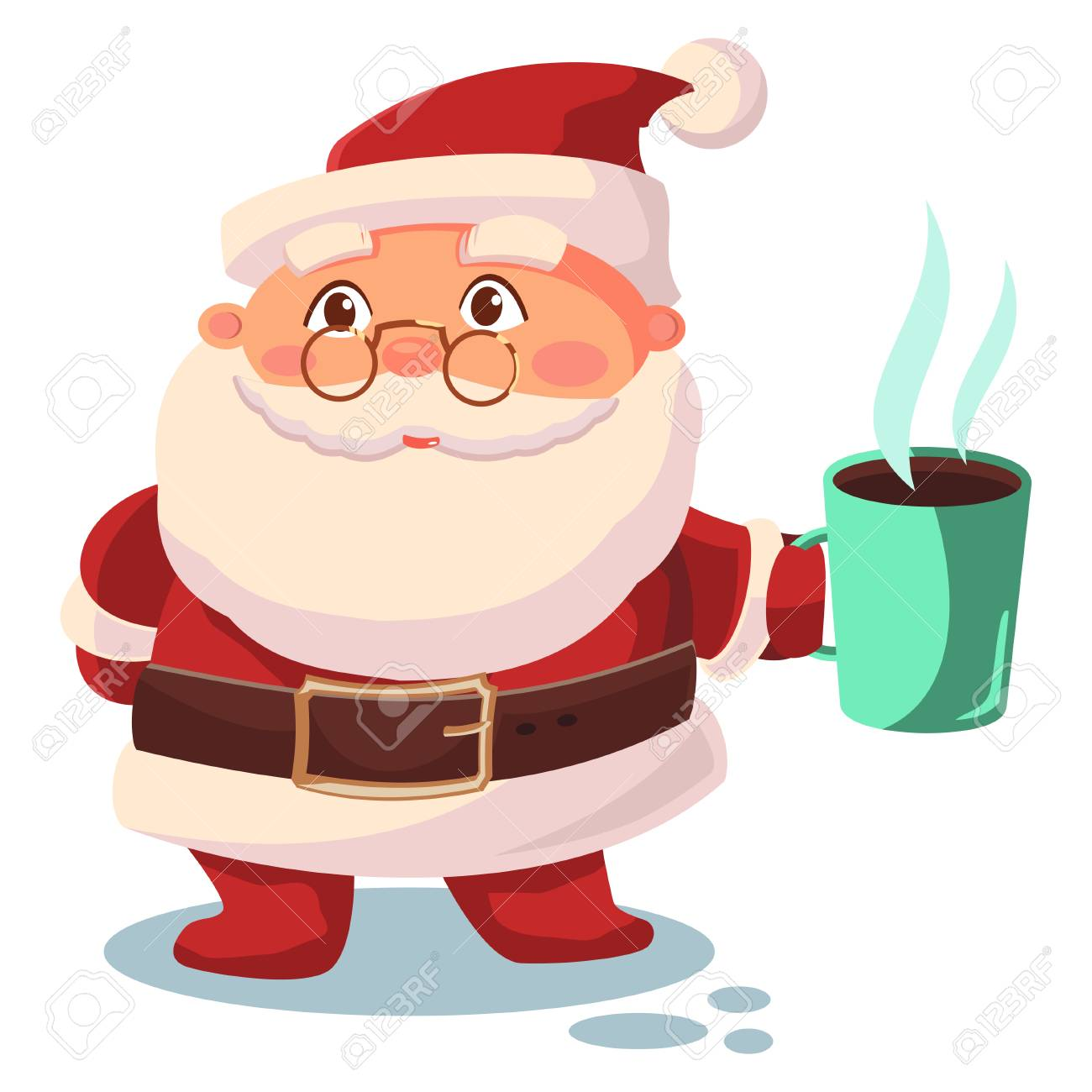 Santa Claus drinks coffee. Vector cartoon character isolated on white background. - 90586680