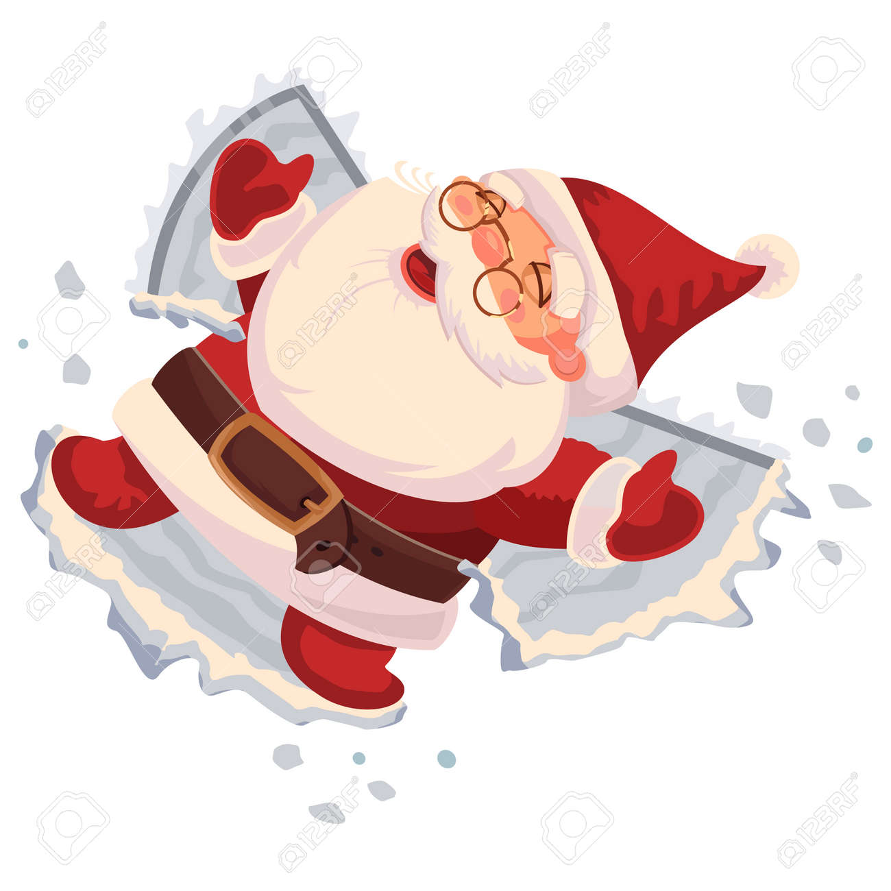 Santa Claus makes a snow angel. Vector cartoon character isolated on white background. - 90586688