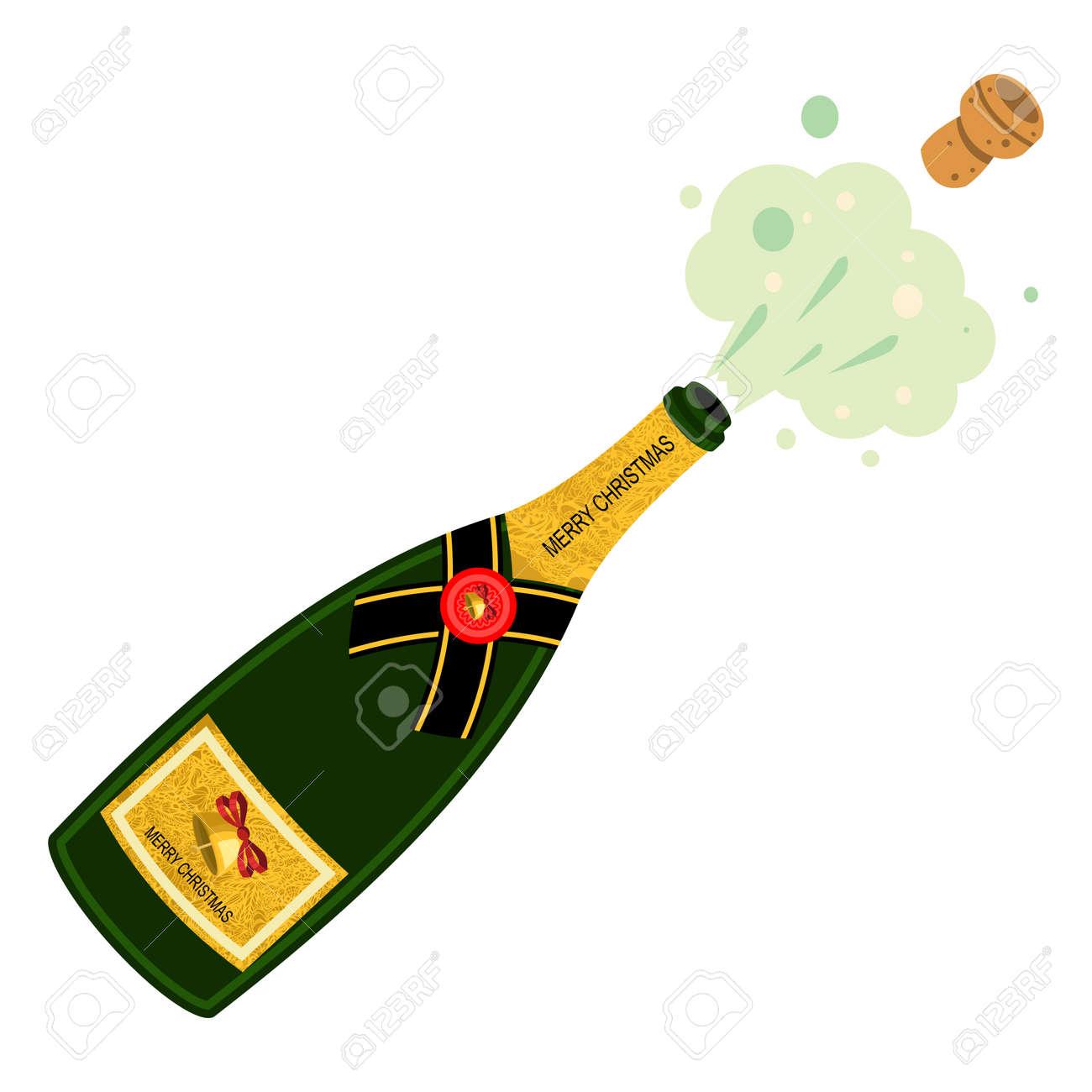 Bouteille De Champagne Dessin explosion de bouteille de champagne. illustration de dessin animé de