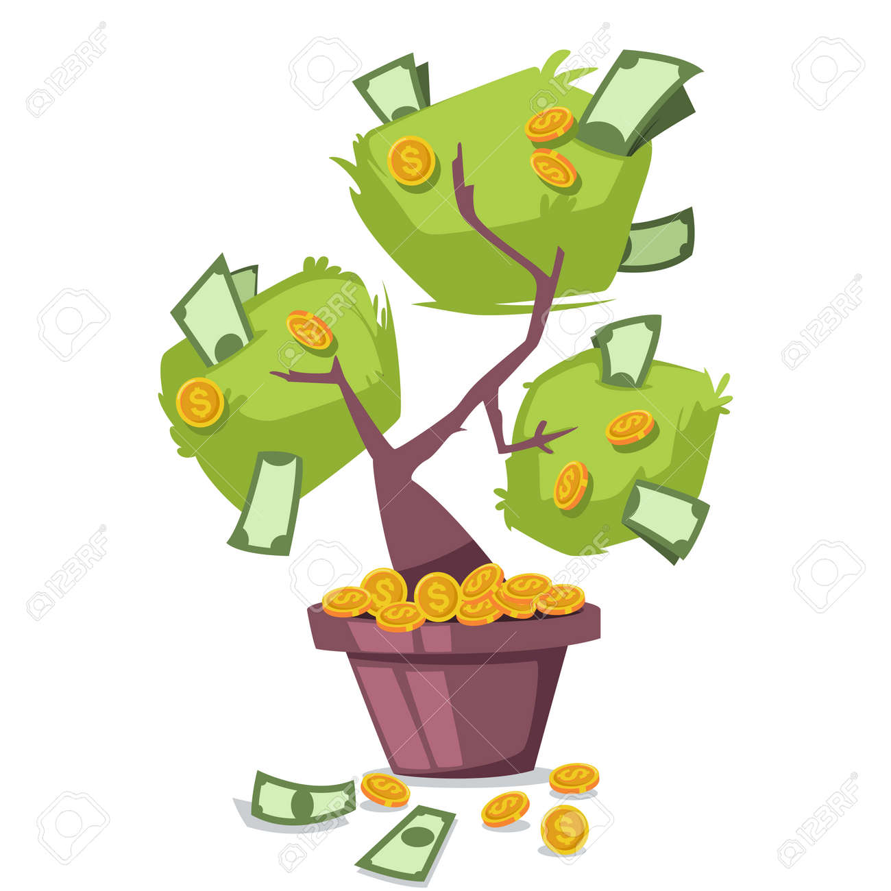 Money Tree With Dollars And Gold Coins Vector Cartoon Icon Isolated Royalty Free Cliparts Vectors And Stock Illustration Image 91031629 Cartoon money tree illustration on white background. money tree with dollars and gold coins vector cartoon icon isolated