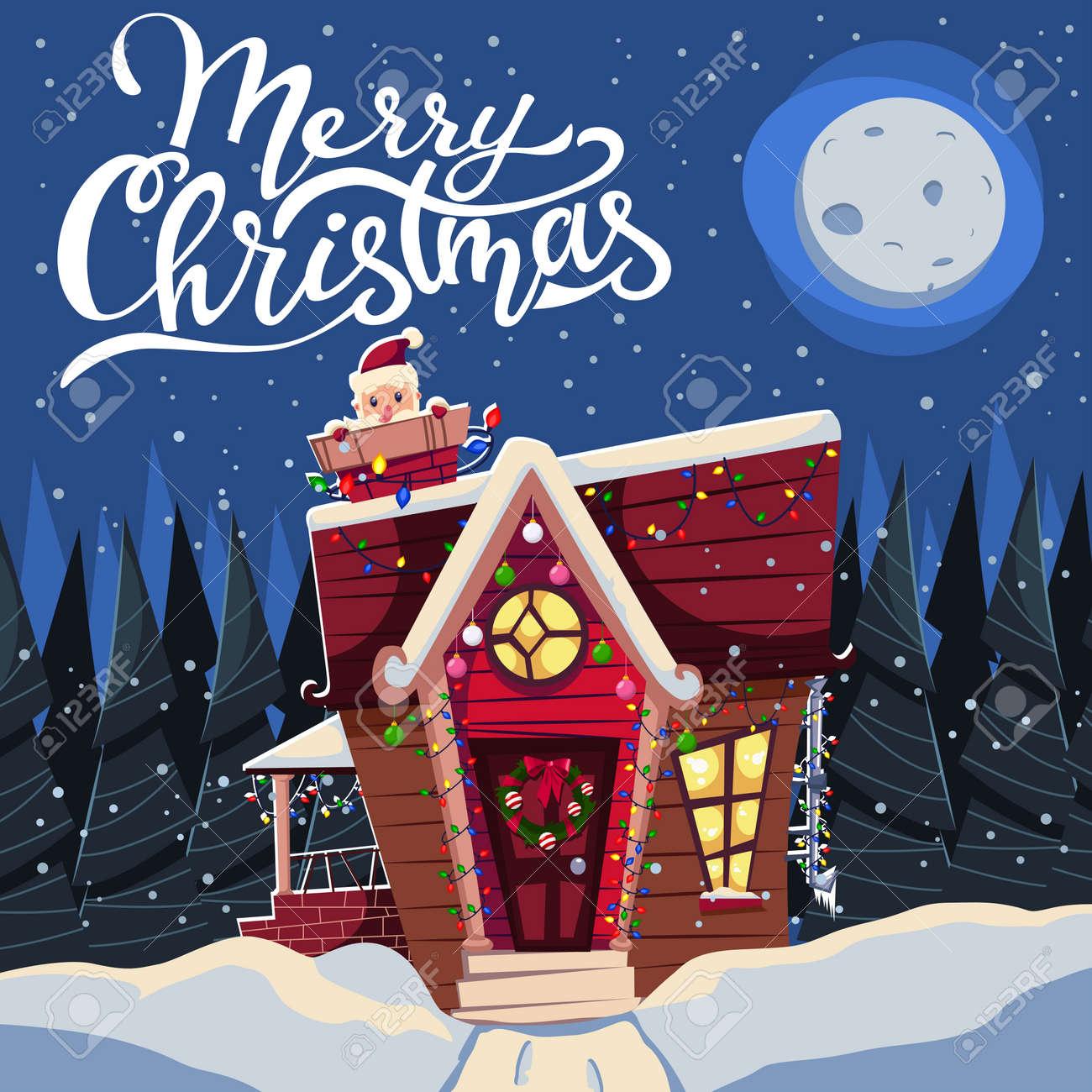 Banque dimages maison de noël dans la neige décorée de guirlandes et avec le père noël dans la cheminée illustration de vacances dessin animé de vecteur