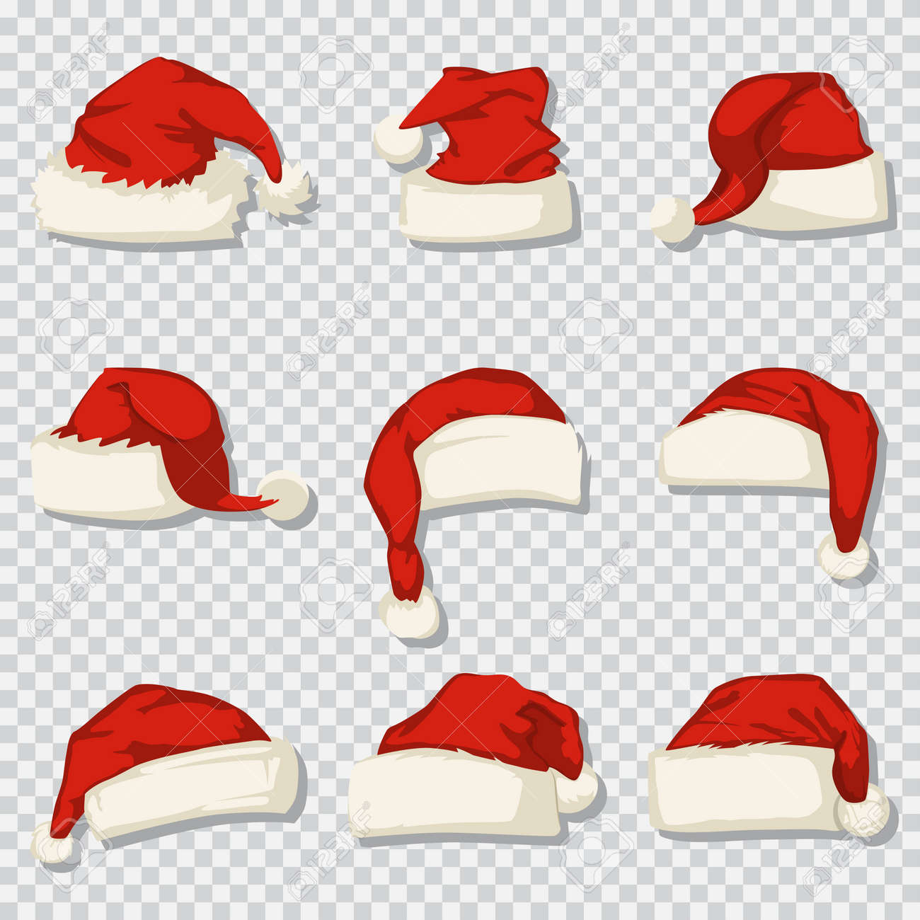 Santa Claus hat set isolated on a transparent background. Vector cartoon icons of Christmas decorative elements. - 91006920