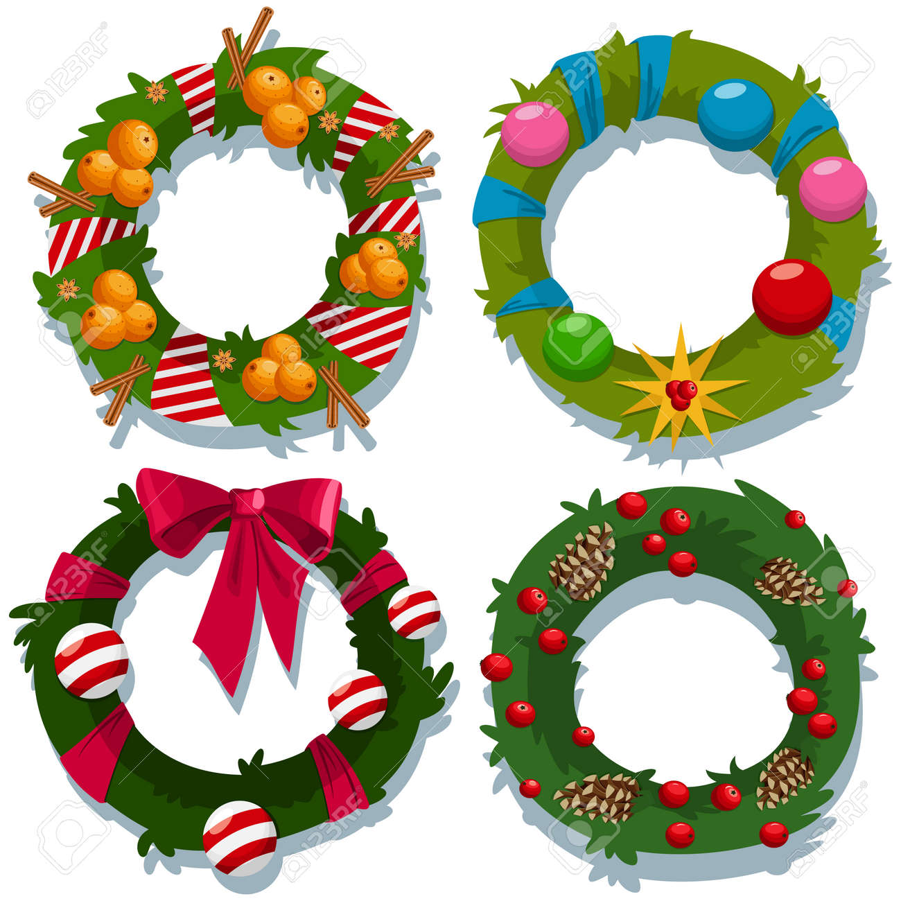 Christmas Wreath Vector Cartoon Decorative Holiday Elements Set