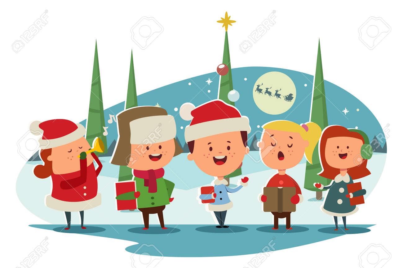 Christmas Caroling. Cute children choir singing carols. Vector cartoon illustration on a winter landscape. - 91006986