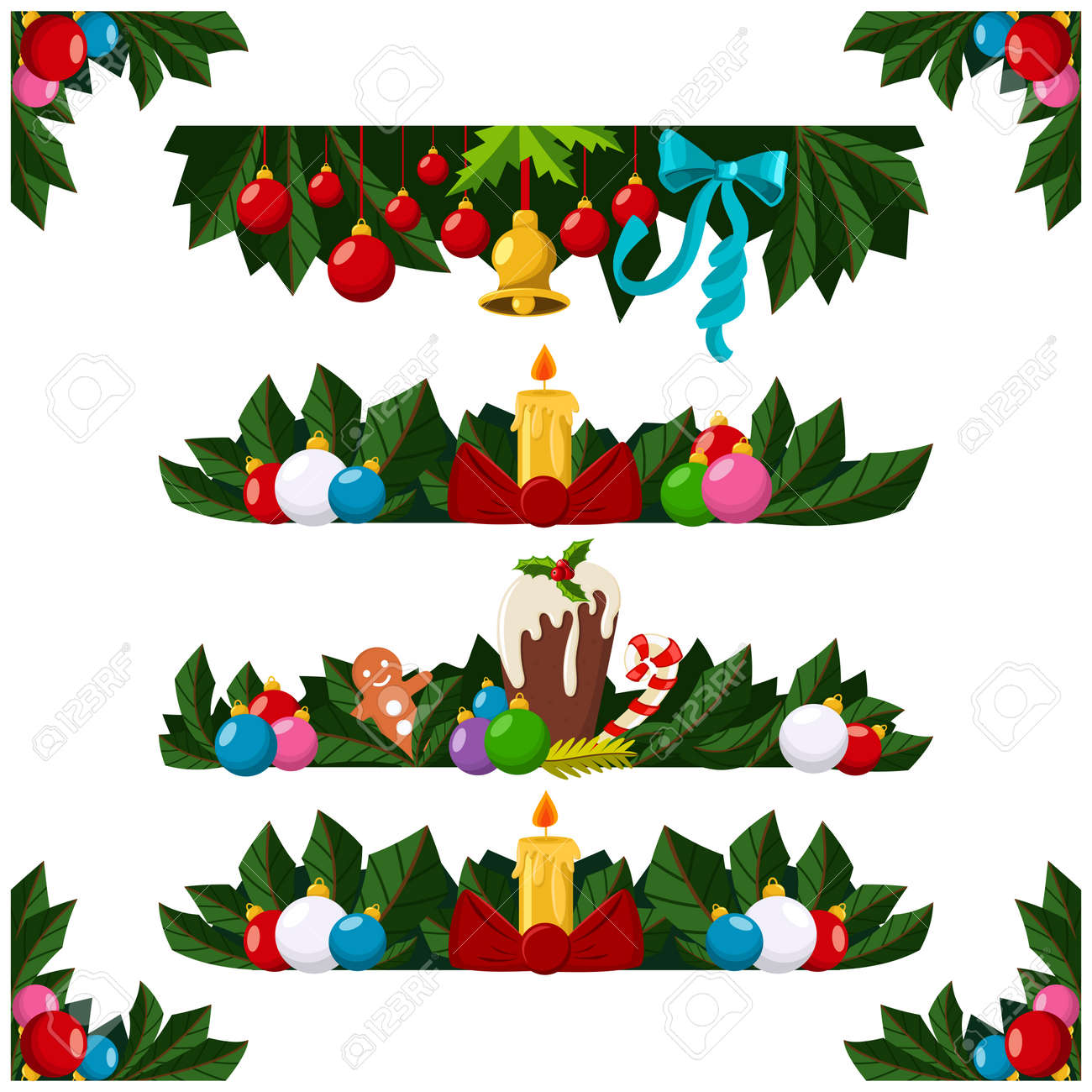 Christmas Decoration Border Frame Or Garland With Xmas Tree Branch Balls Candle