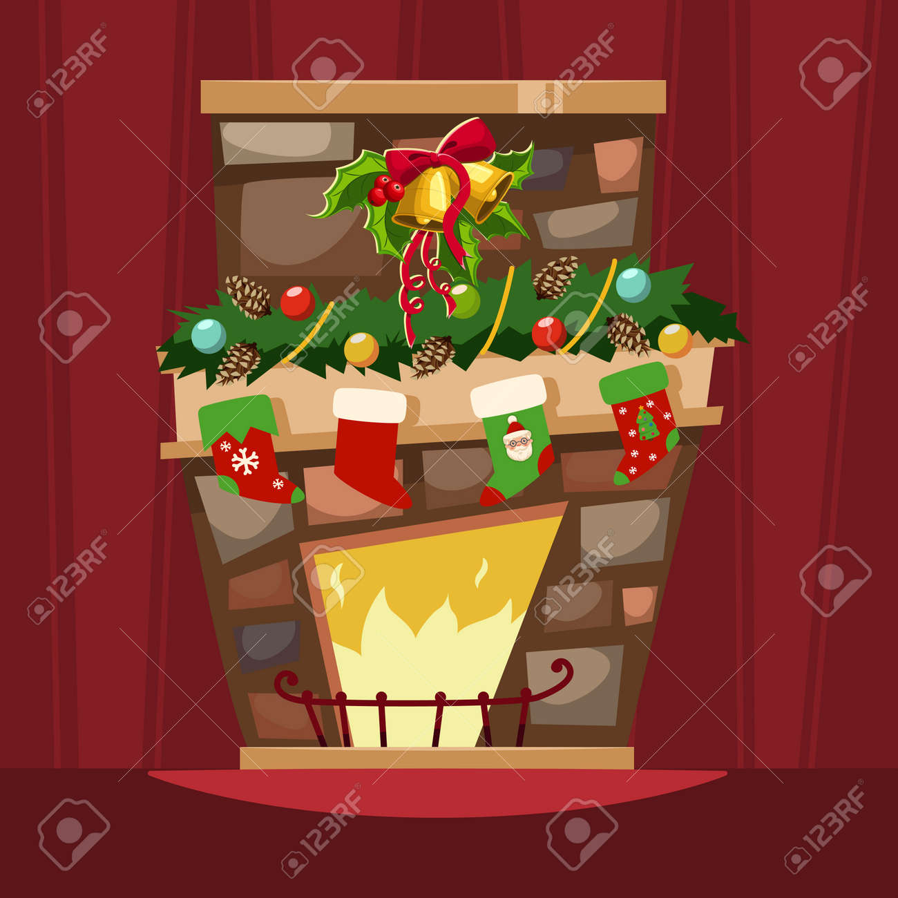 Bells And Holly Berry Leaves Christmas Stocking