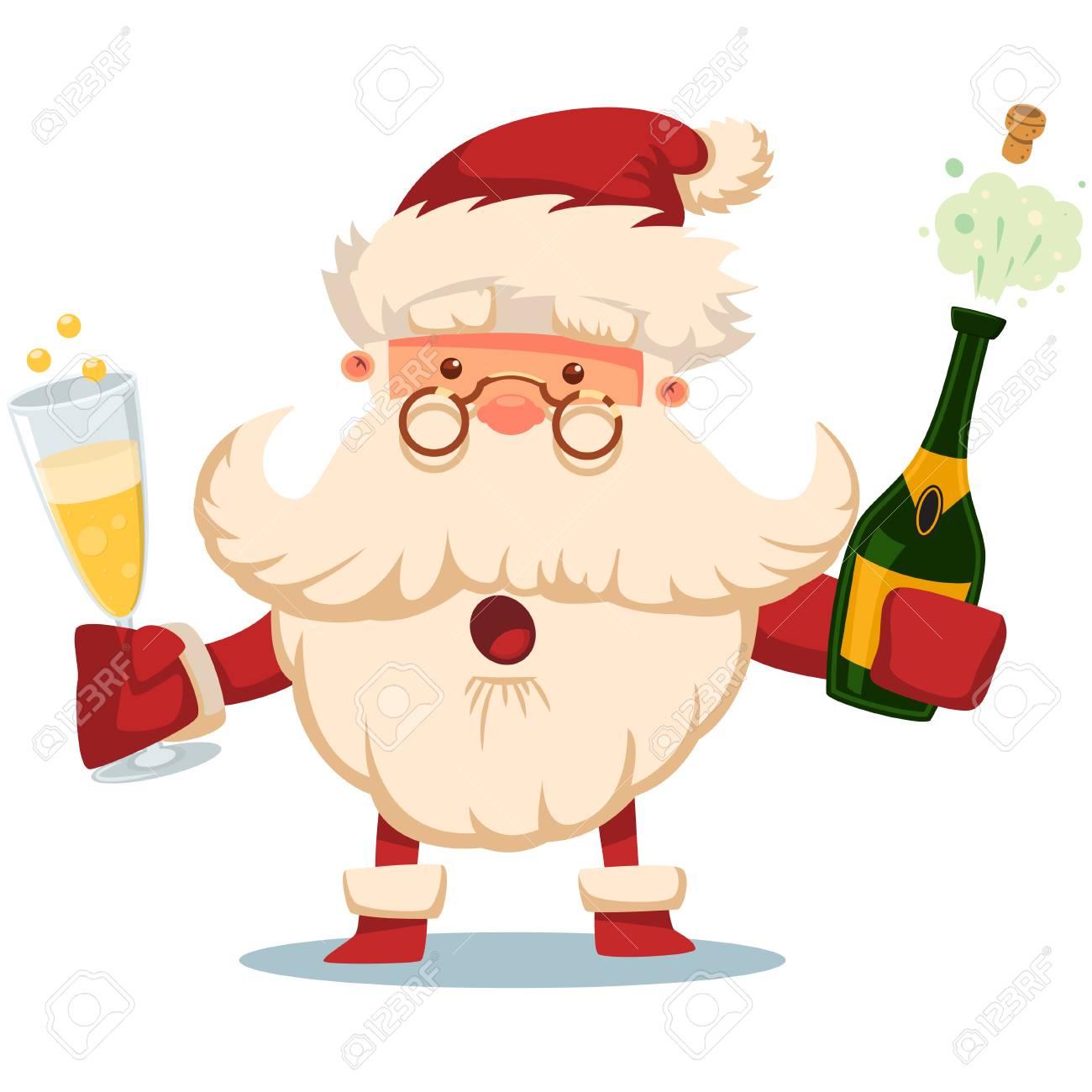 Mignon Père Noël Avec Explosion De Bouteille De Champagne Et Verre Illustration De Dessin Animé De Noël Vector Isolée Sur Fond Blanc