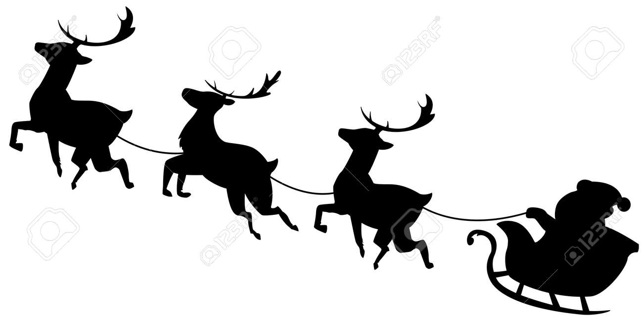 santa claus flying in sleigh with reindeer black silhouette