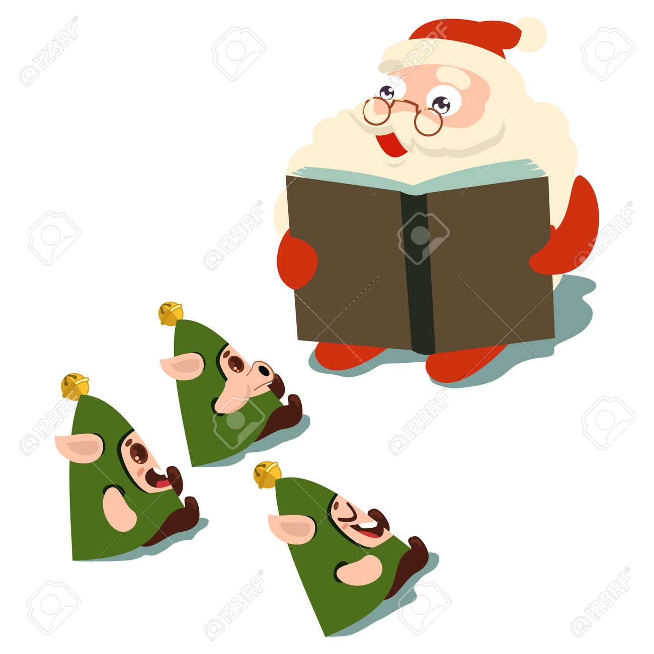 Santa Claus Reading A Book Elves Vector Cartoon Character Isolated