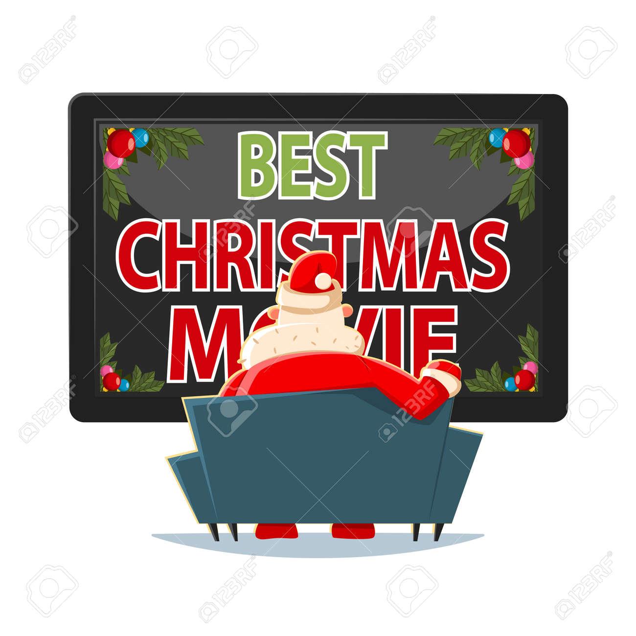 Peliculas Dibujos Animados De Navidad.Las Mejores Peliculas De Navidad Vector Ilustracion De Dibujos Animados Santa Claus En El Sofa Viendo La Television