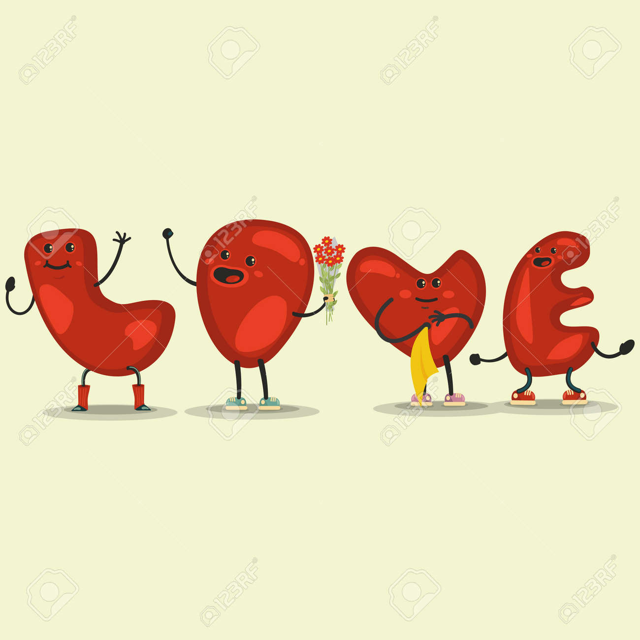 Motion De Coeur D Amour Mignon Illustration Vectorielle De Saint Valentin Dessin Animé