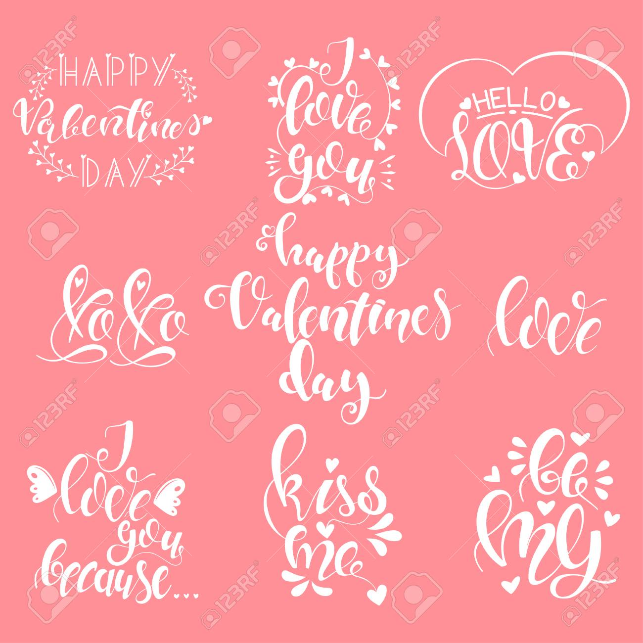 Happy Valentines Day Love Quotes Set Vector Handwritten Calligraphy