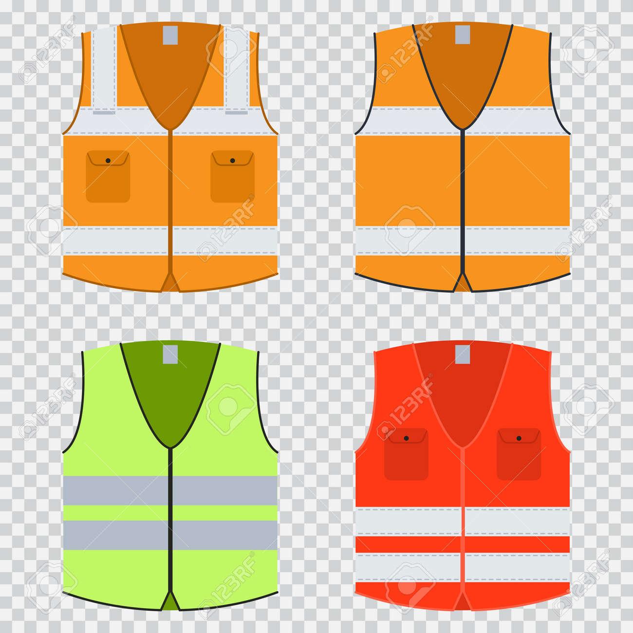 Vest safety vector flat set. - 94393758