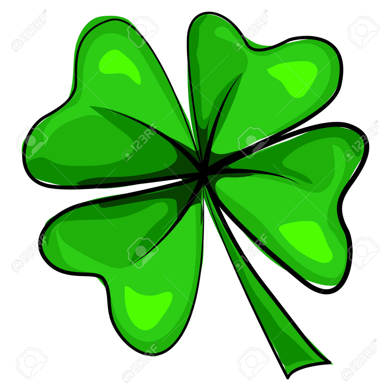 Four leaf clover icon. Vector cartoon illustration isolated on white background. Design elements for St. Patrick's Day. - 94395105