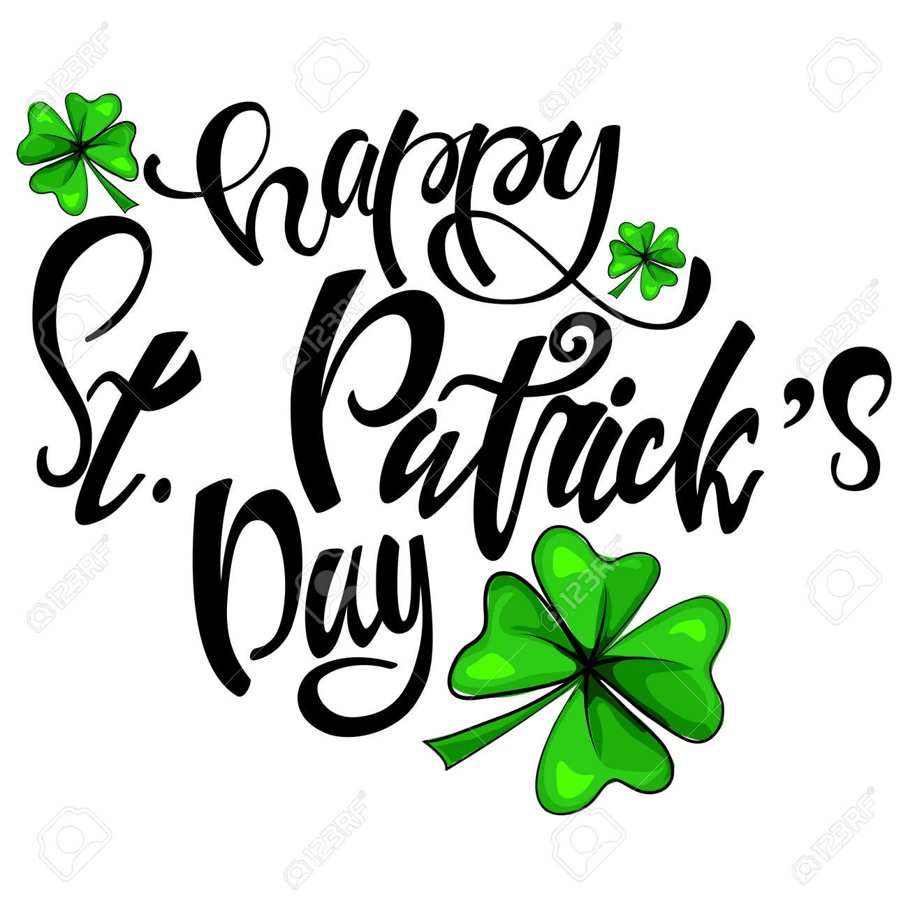 Happy St. Patrick's Day hand drawn text with four leaf clover. Vector illustration isolated on white background. - 94509694