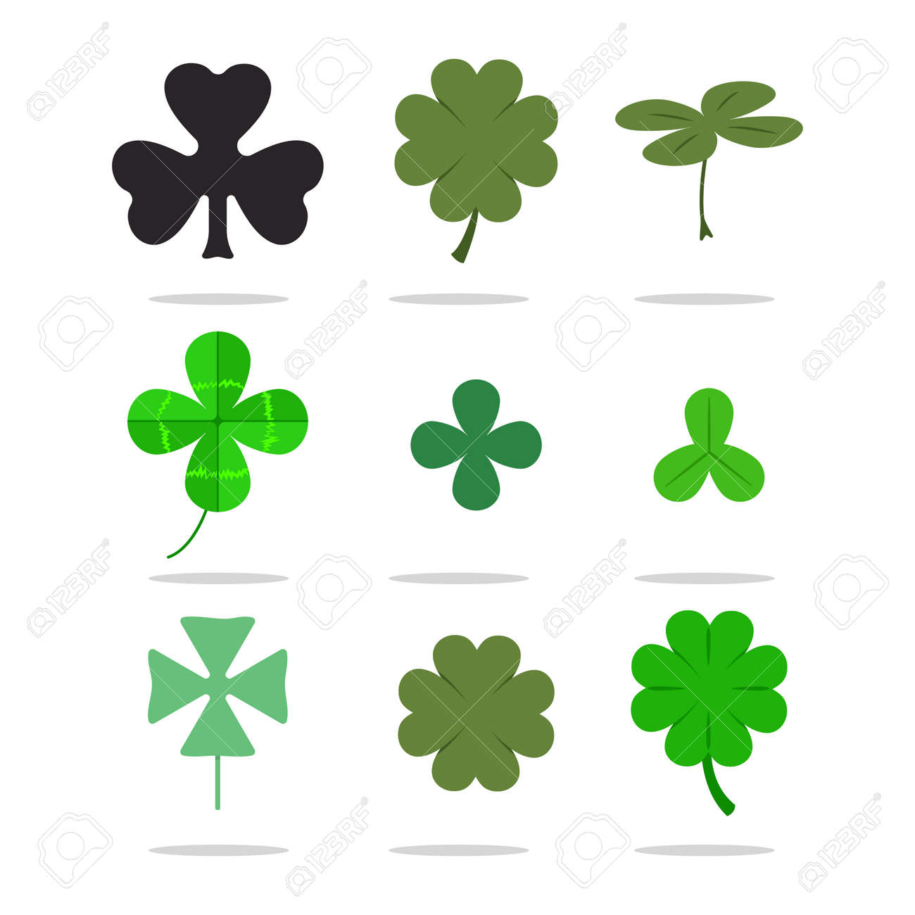 Four leaf clover and shamrock vector set  St  Patrick's Day icons