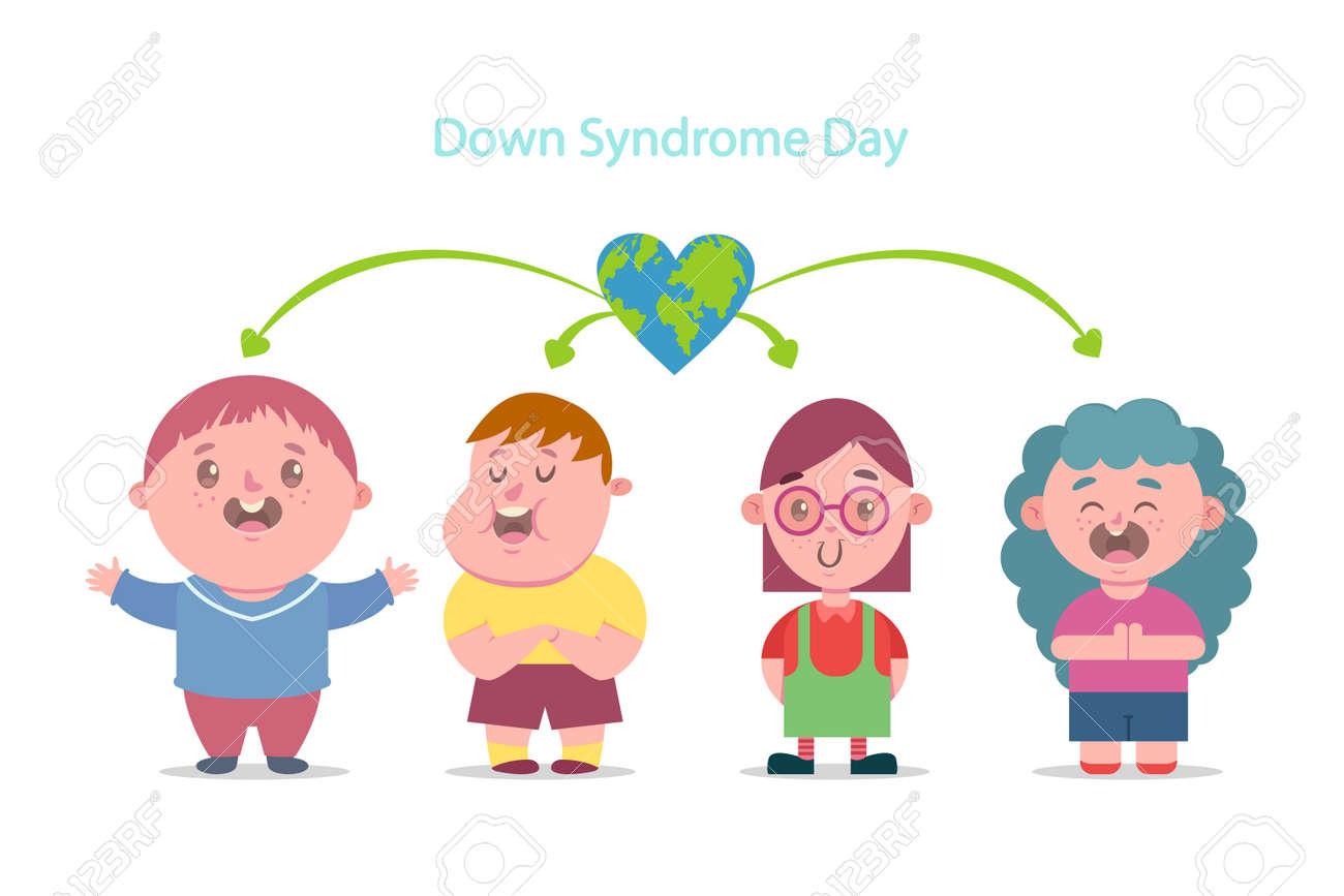 Journée Du Syndrome De Down Illustration De Plat Dessin Animé Vectorielle Des Enfants Handicapés Caractères Garçons Et Filles Isolés Sur Fond Blanc