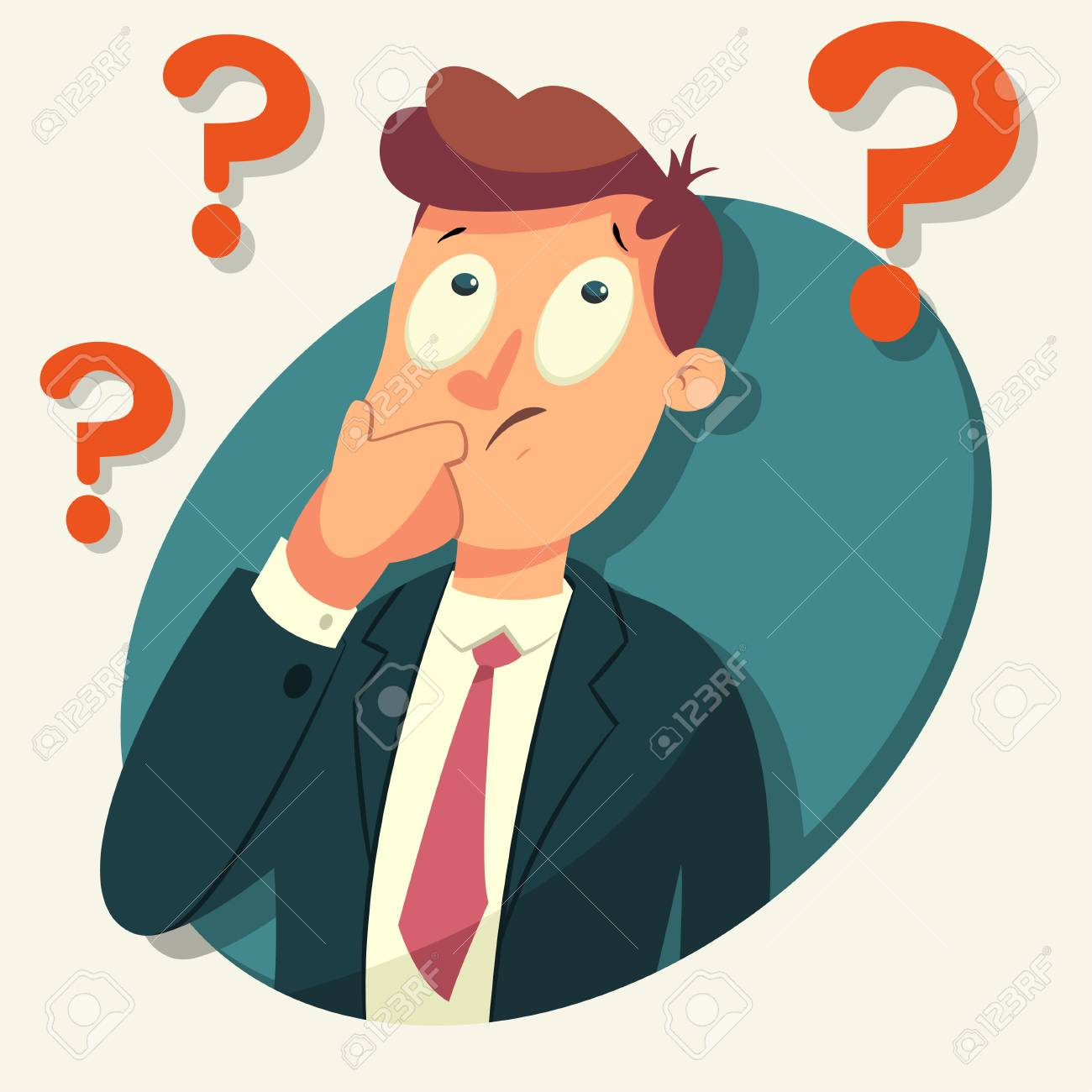 Thinking business man character. Vector cartoon illustration of a male with a question mark isolated on background. - 97070005