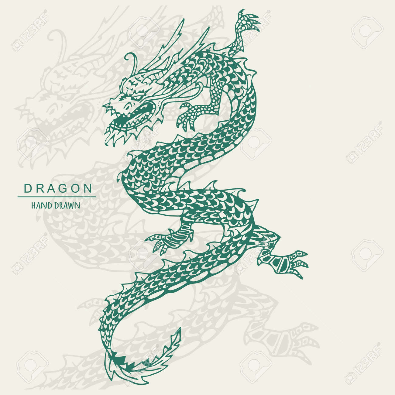 Chinese Dragon Tattoo. Hand draw vector illustration. - 97125324