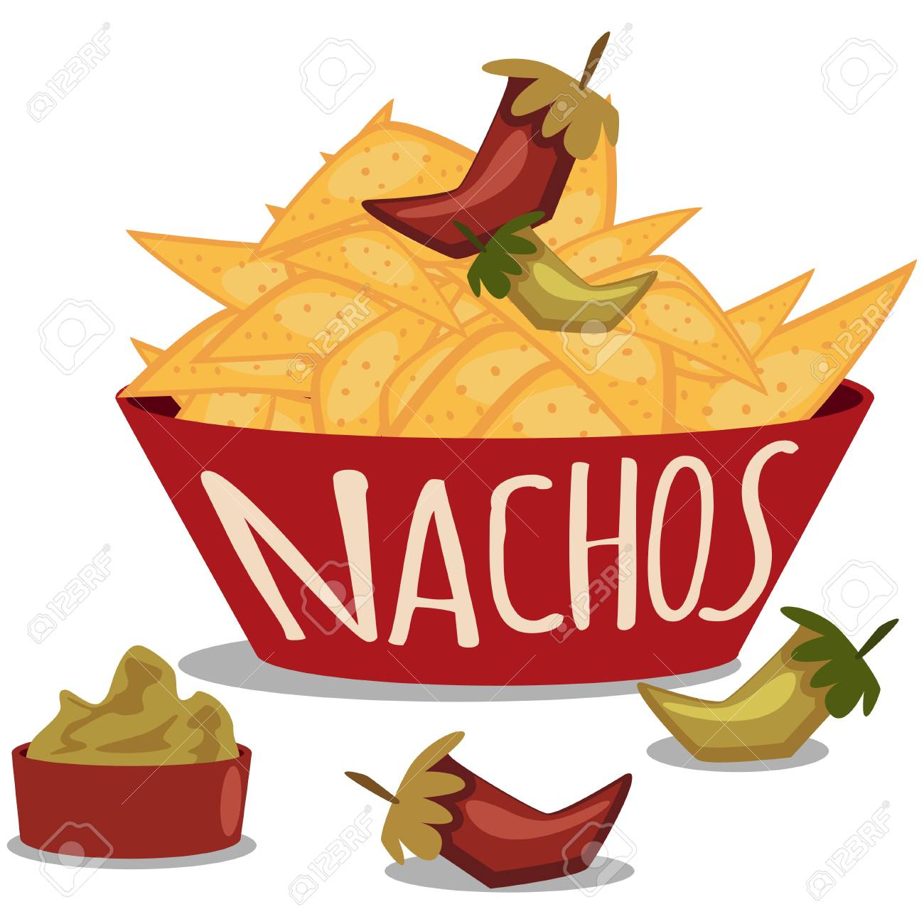 Nachos with guacamole sauce and chili pepper. Mexican traditional food. Plate of tortilla chips. Vector cartoon illustration isolated on white background. - 101087327