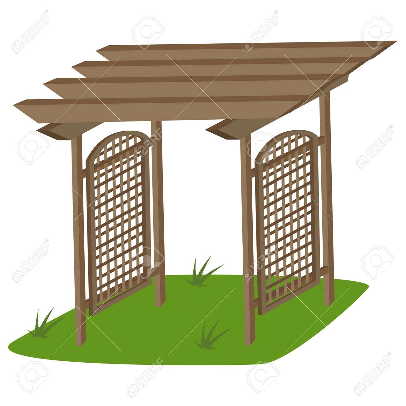 Garden Trellis Of Teak For Garden Vector Cartoon Illustration