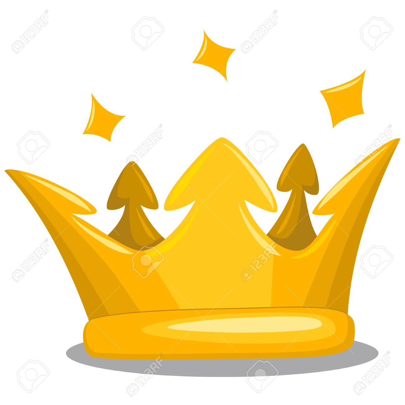 Gold King Crown Cartoon Vector Icon Of Royal Attribute Isolated