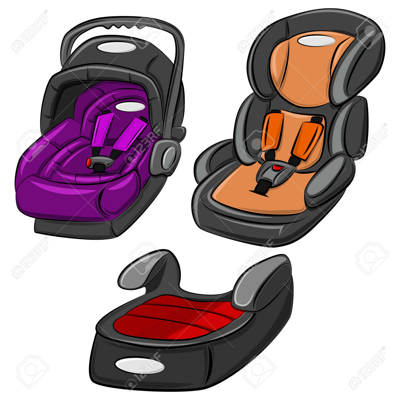 Baby Car Seats Vector Set. Cartoon