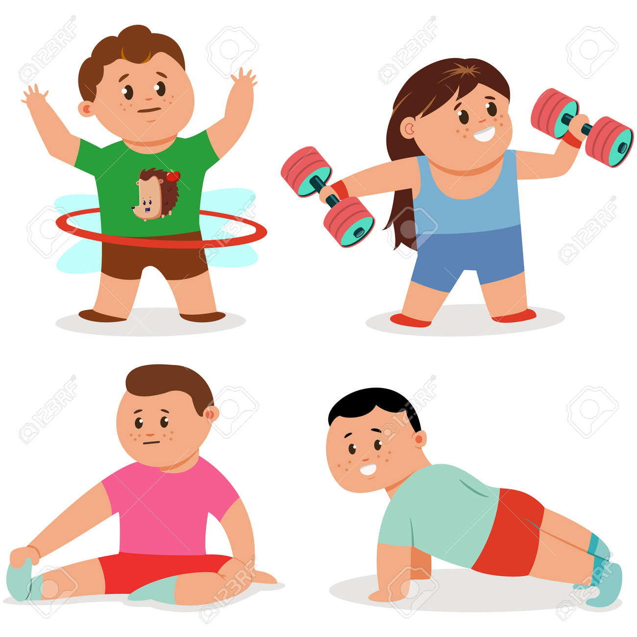 Kids Doing Fitness Exercises Cute Cartoon Girl And Boy Vector Royalty Free Cliparts Vectors And Stock Illustration Image 108517132