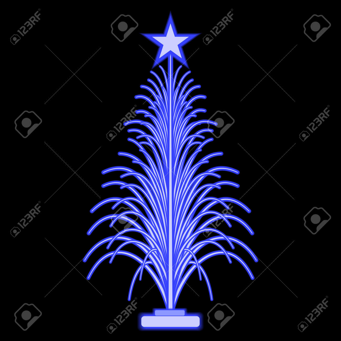 Fiber Optic Christmas Trees.Fiber Optic Christmas Tree With Star Vector Icon Isolated On