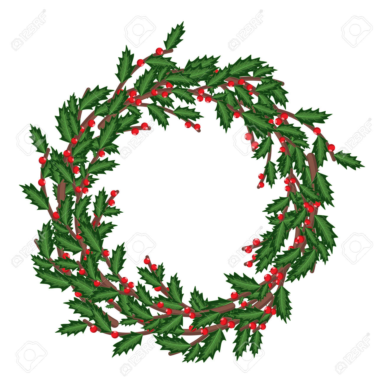 Christmas Holly Berry Wreath Vector Cartoon Holiday Decoration Royalty Free Cliparts Vectors And Stock Illustration Image 112198247