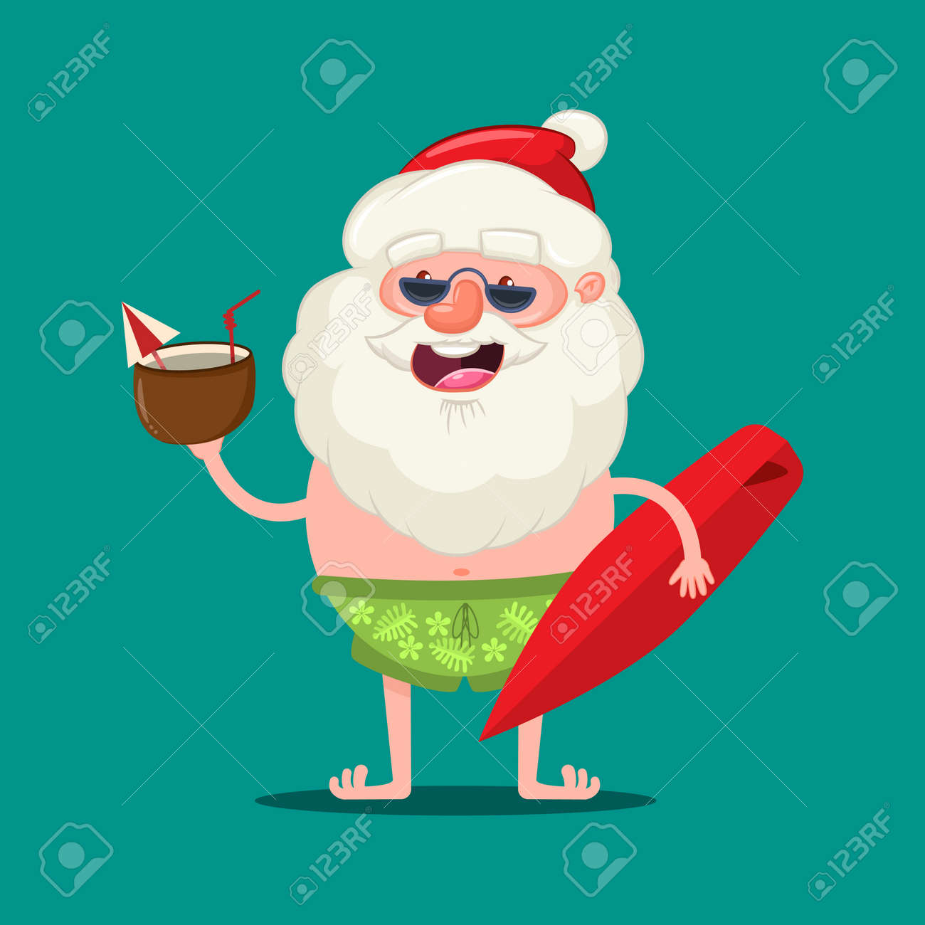 Summer Santa Claus in sunglasses and shorts with a coconut cocktail and surfboard. Vector Christmas cute cartoon character isolated on background. - 115569641
