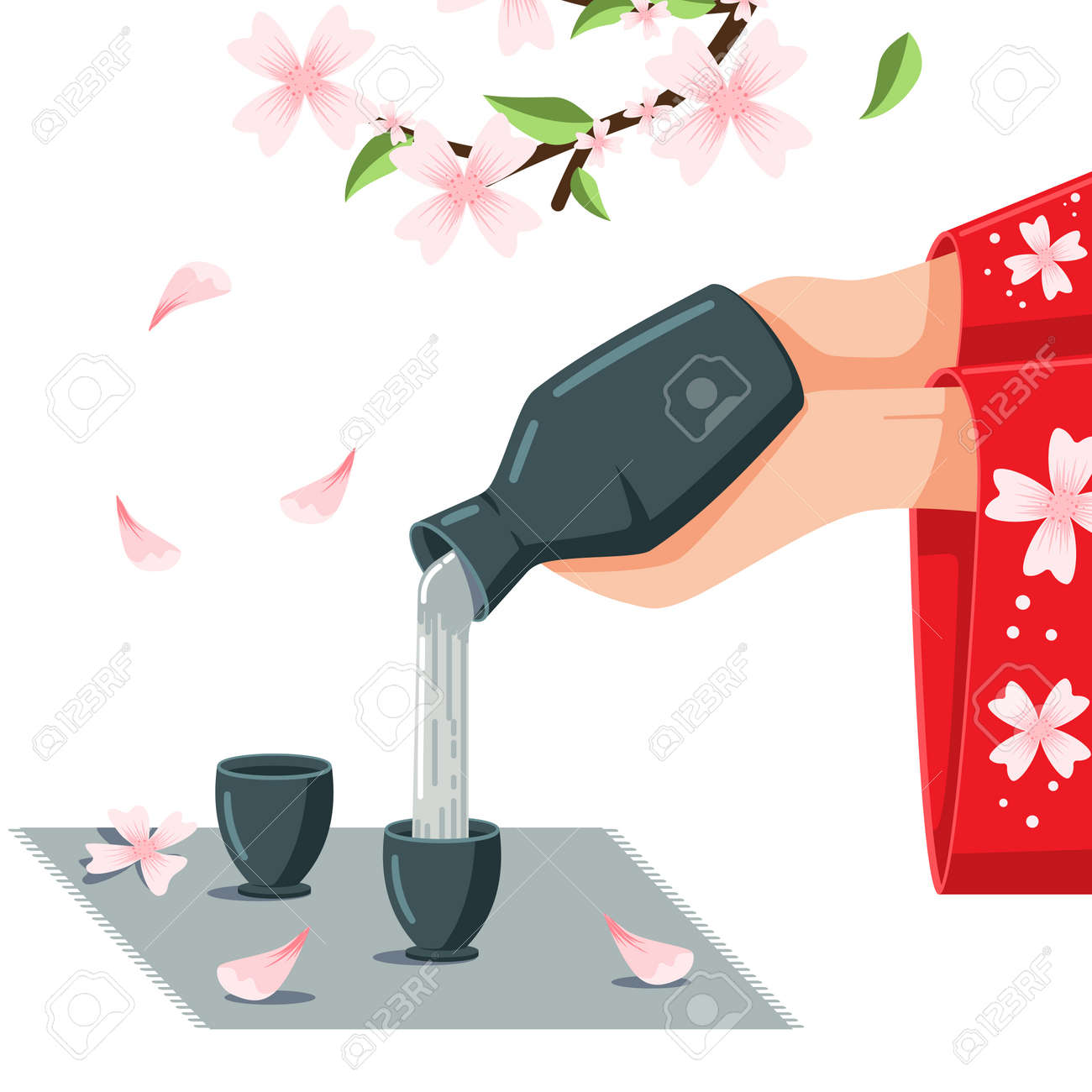 Sake vector cartoon illustration. Women's hands in kimono pouring Japanese alcoholic drink on the blossom cherry background. - 115569672