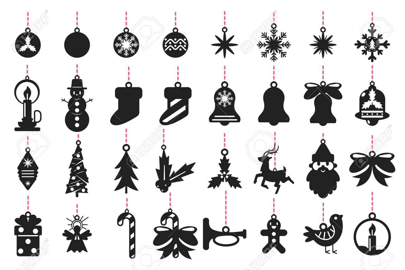 Christmas symbols black silhouette of Santa Claus, reindeer, snowflakes, balls, tree, angel, mistletoe and others. Vector set templates for laser cut isolated on white background. - 115569711