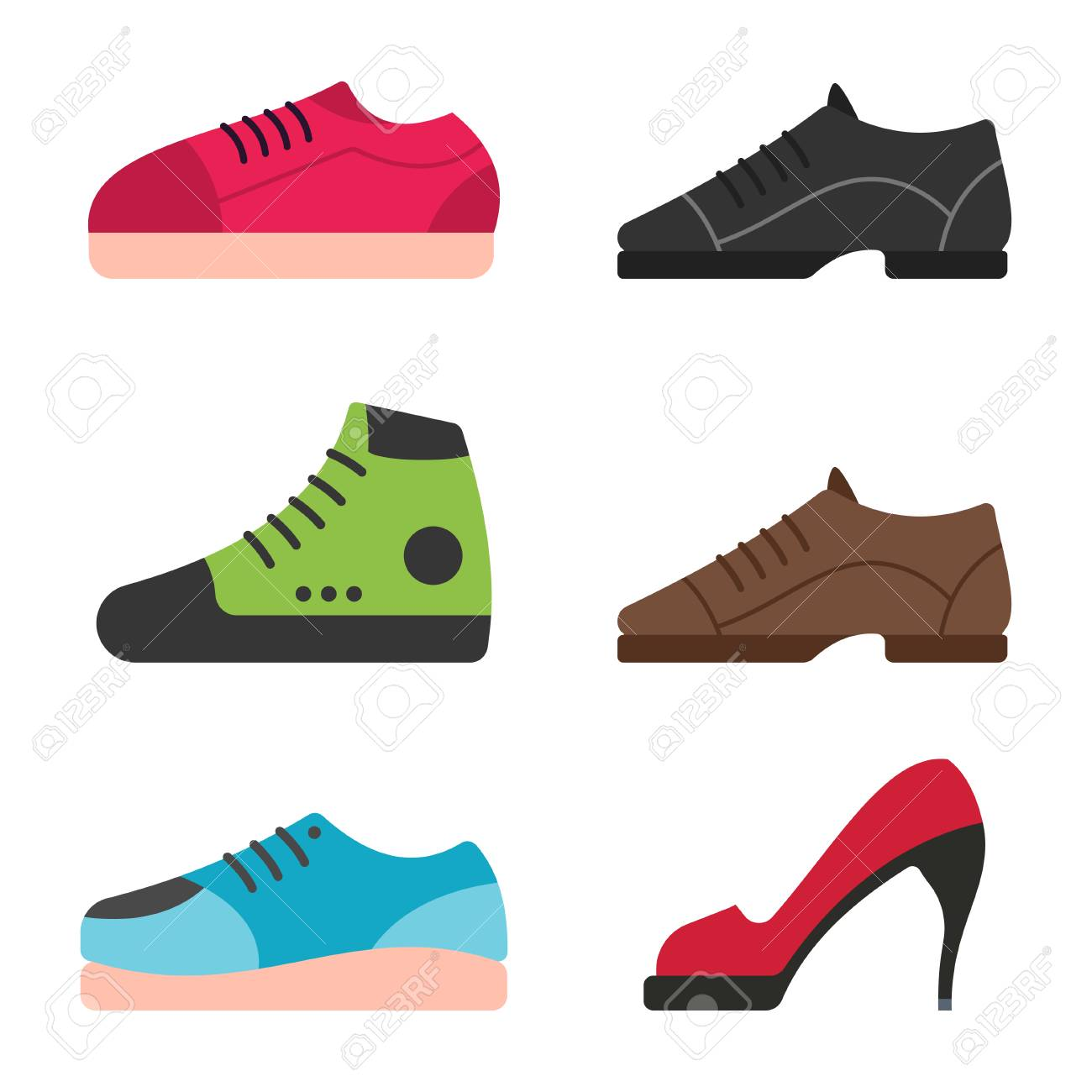 Shoes For Kids Men And Women Set Vector Cartoon Flat Icons Royalty Free Cliparts Vectors And Stock Illustration Image 115569726