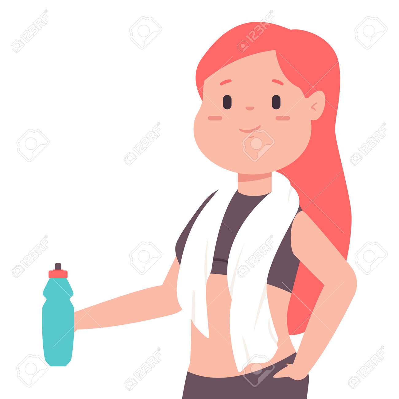 Cute girl with a bottle of water and a towel around her neck is resting after a workout. Vector cartoon woman character isolated on white background. - 118629997