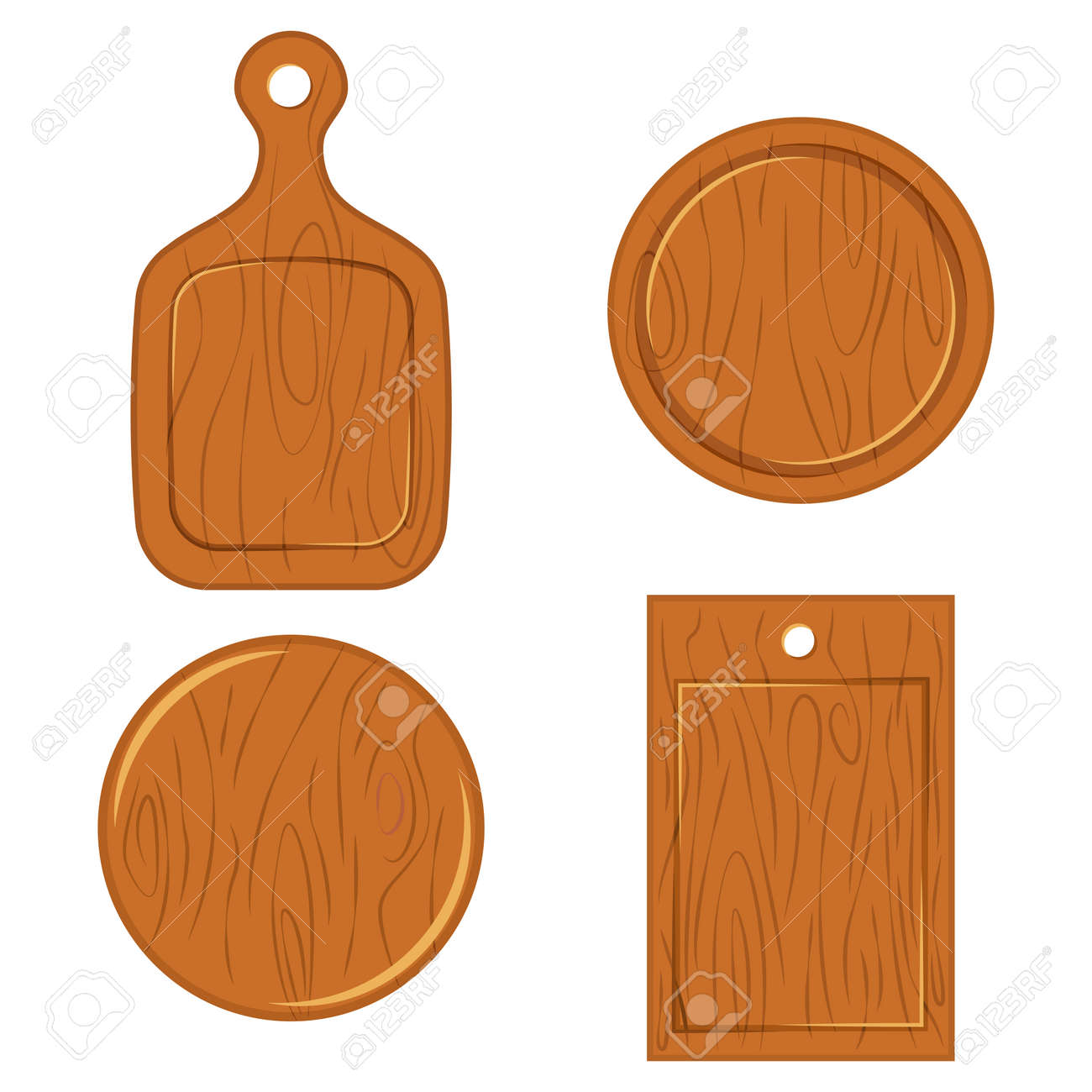 Wooden Cutting Board Of Different Shapes Top View Vector Flat Royalty Free Cliparts Vectors And Stock Illustration Image 118630028
