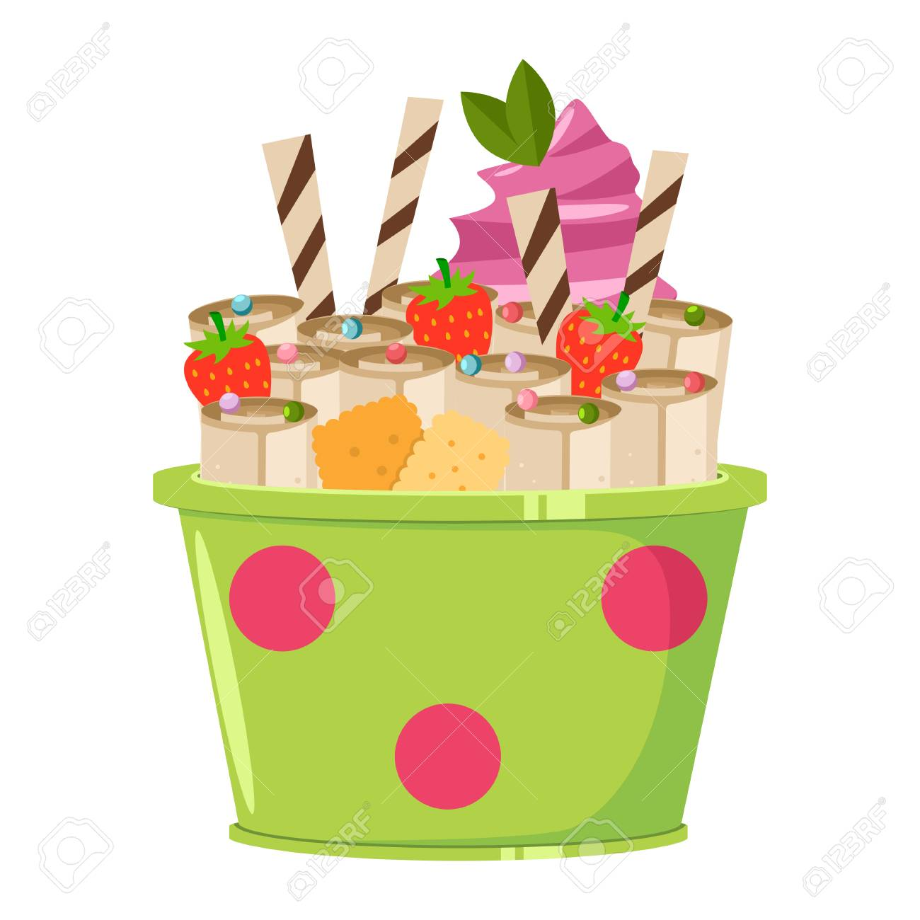 Thailand ice cream roll with waffle, cookie, mint, strawberry and lolly candy. Vector cartoon flat icon or logo isolated on a white background. - 123791839
