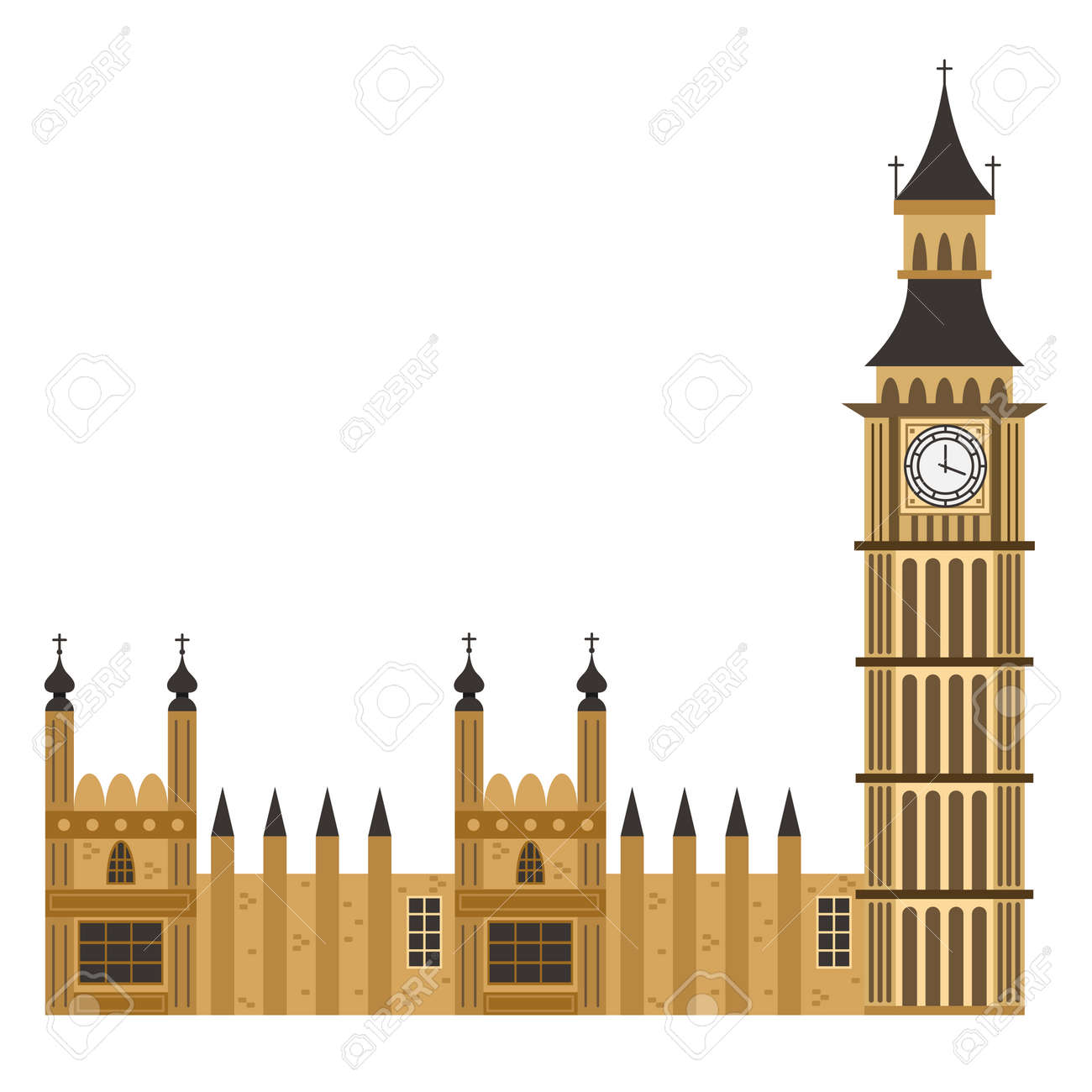 Big Ben clock tower. Vector flat icon of London building isolated on white background. - 123791841