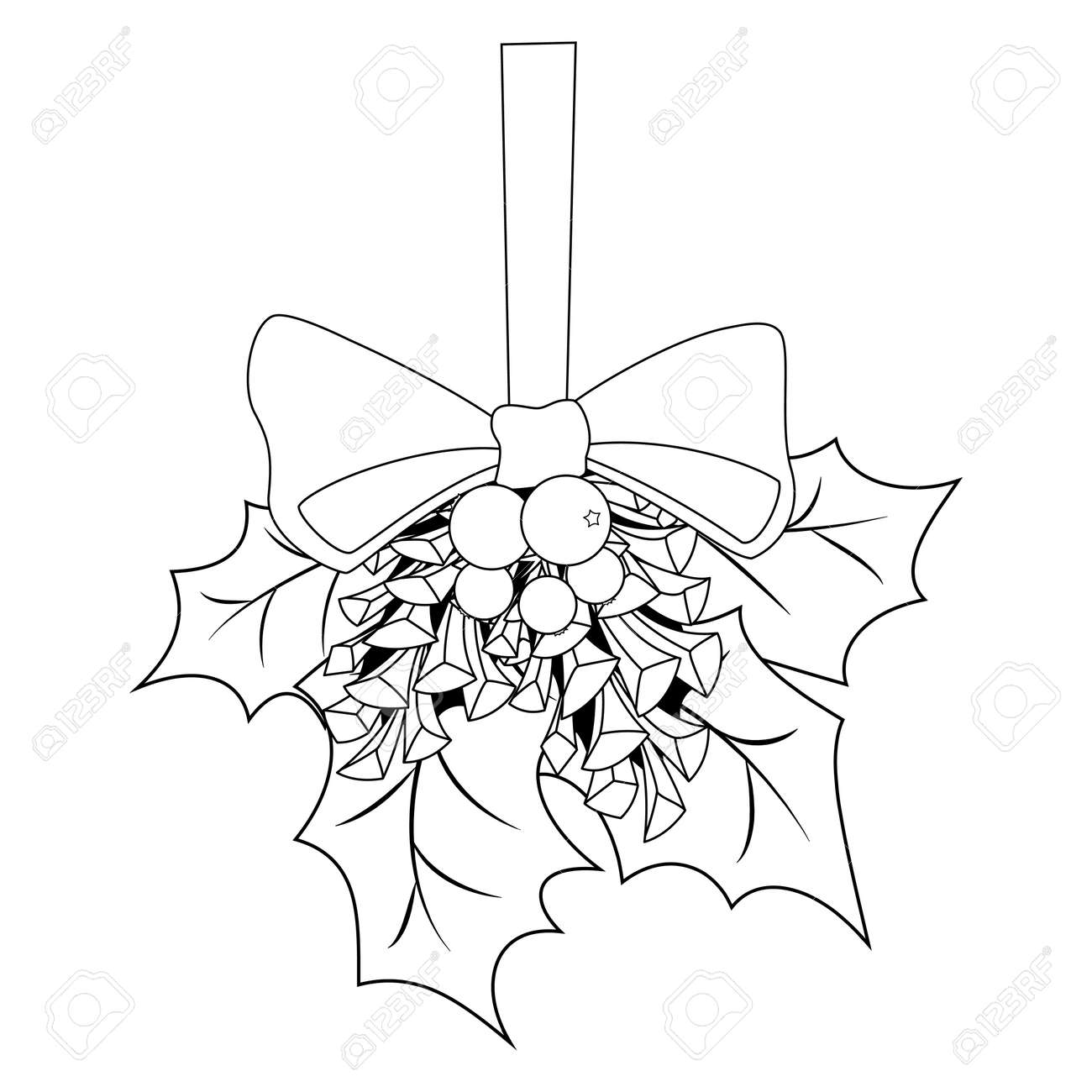 Holly leaf template christmas – Coloring Page | 1300x1300