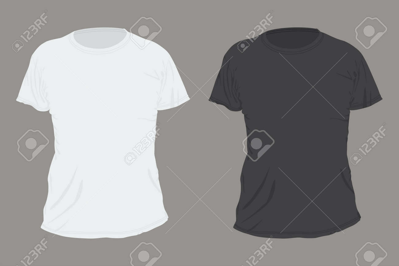 Black and white T-shirt front view vector flat template isolated on background. - 154760255