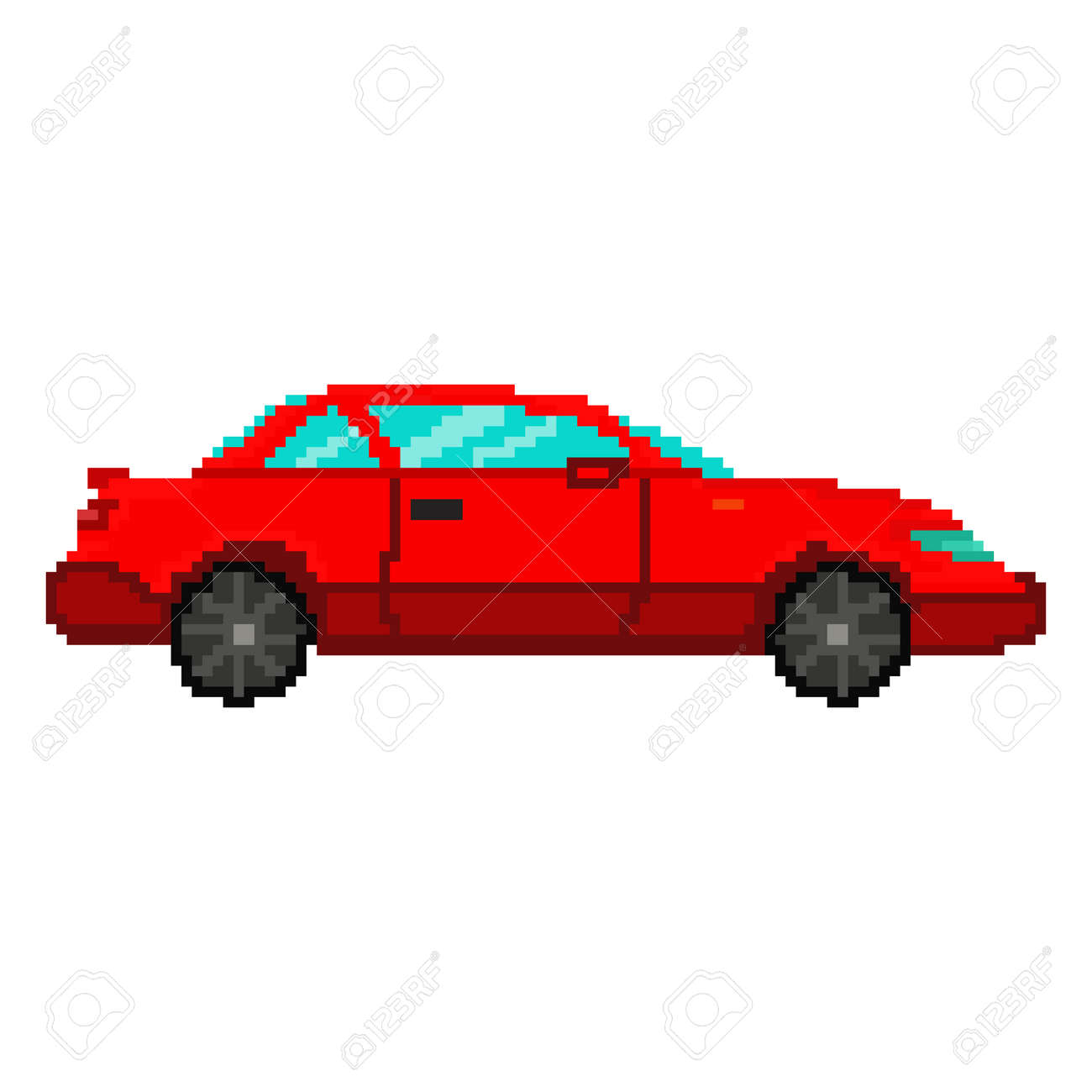 Pixel art red car. Vector 8 bit game web icon isolated on white background. - 160366845