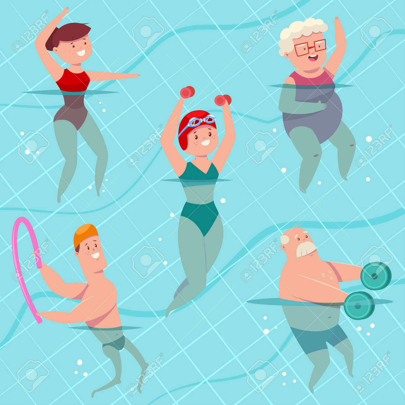 Group aqua aerobics in swimming pool. Young and elderly men and women doing aquagym exercise. Vector cartoon fitness people character isolated on a background. Healthy lifestyle set. - 166674031